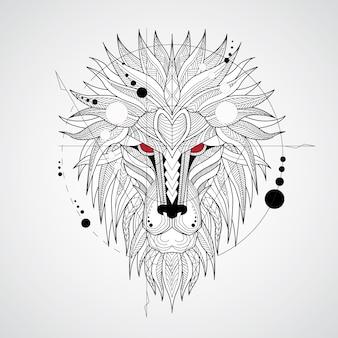 Fondo de león con diseño geométrico