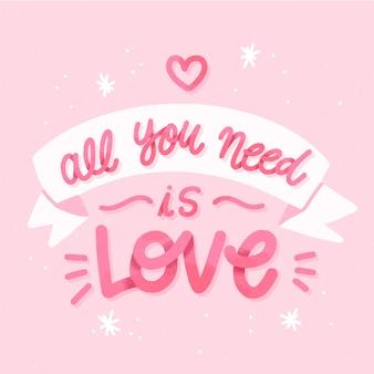 Fondo de letras de boda todo lo que necesitas es amor