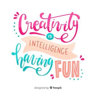 Fondo de letras cita de creatividad dibujada a mano