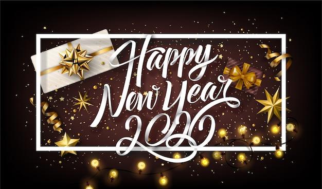 Fondo de letras con elementos de año nuevo 2020
