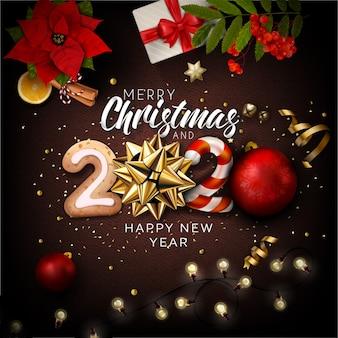 Fondo de letras con elementos de navidad y año nuevo 2020