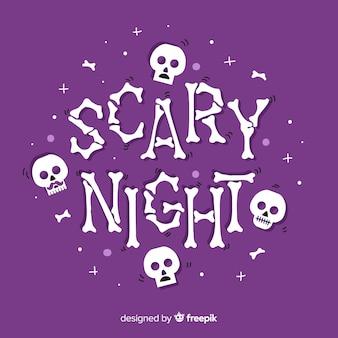 Fondo de letras de noche de miedo dibujado a mano