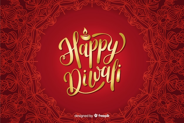 Fondo de letras rojas diwali dibujado a mano