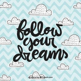 Fondo con lettering con concepto de sueños