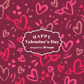 Fondo lettering día de san valentín corazones dibujados a mano