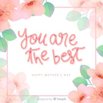 Fondo lettering floral día de la madre