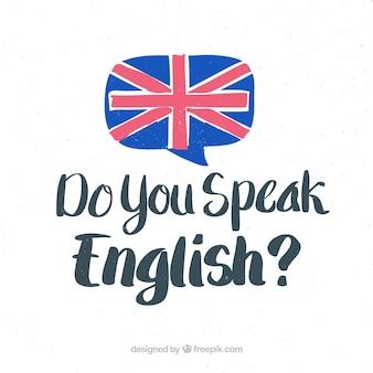 Fondo de lettering de habla usted inglés
