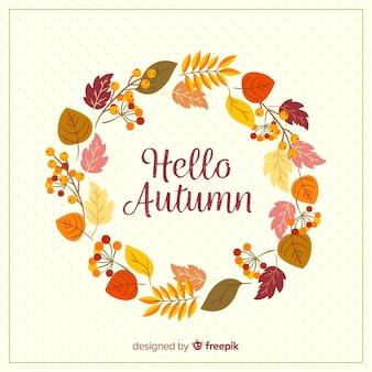 Fondo de lettering de hola otoño