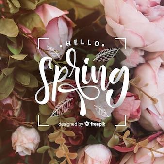 Fondo lettering hola primavera