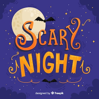 Fondo de lettering de scary night de halloween