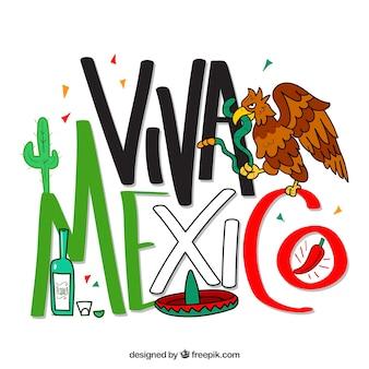 Fondo de lettering de viva mexico con águila