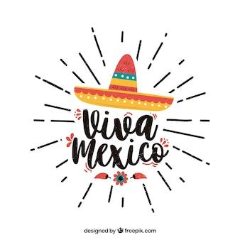 Fondo de lettering de viva mexico con sombrero