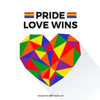 Fondo de lgtb pride con corazón poligonal