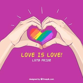 Fondo de lgtb pride dibujado a mano con manos alrededor de corazón