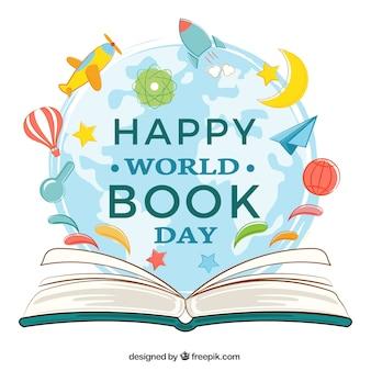 Fondo de libro abierto con elementos decorativos para el día mundial del libro