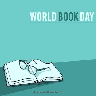 Fondo de libros con gafas dibujadas a mano