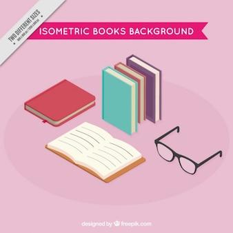 Fondo de libros y gafas en estilo isométrico
