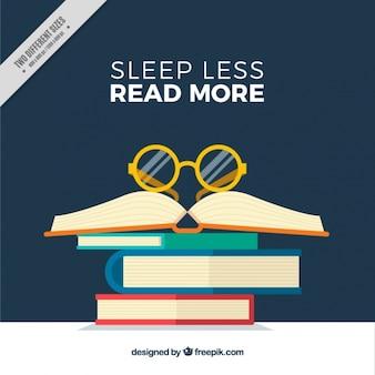 Fondo de libros con gafas y frase inspiradora