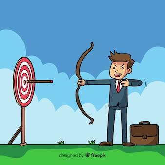Fondo liderazgo arquero dibujos animados