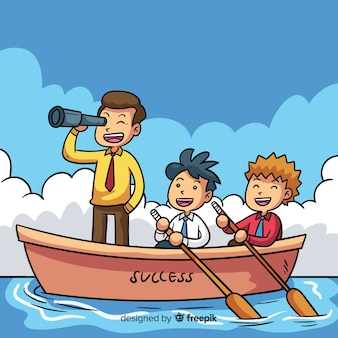 Fondo liderazgo bote dibujos animados