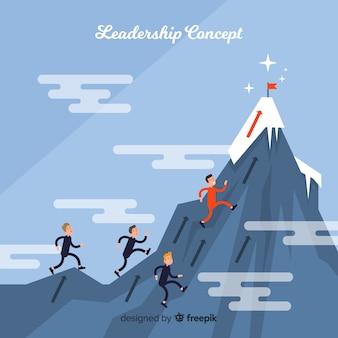 Fondo de liderazgo en diseño flat