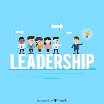 Fondo de liderazgo en estilo flat