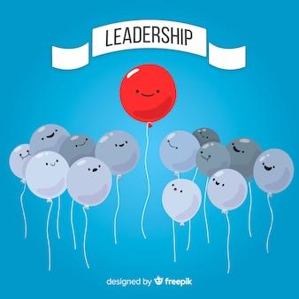 Fondo de liderazgo con globos