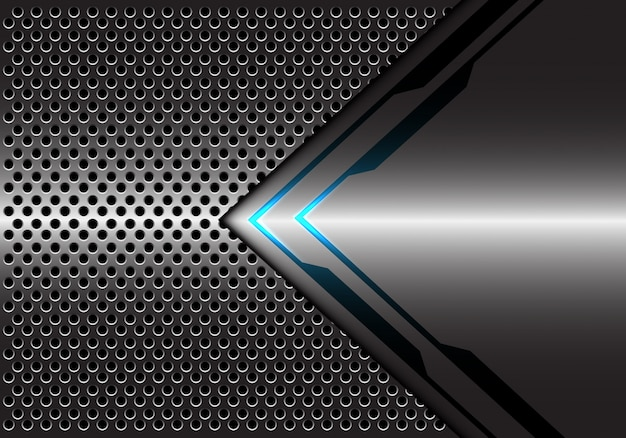 Fondo ligero azul metálico gris de la malla del círculo de la dirección de la flecha.