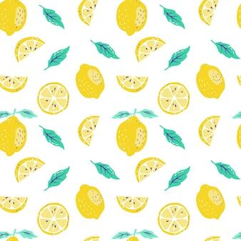 Fondo con limones frescos y rodajas de limón.