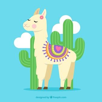 Fondo de linda alpaca con cactus