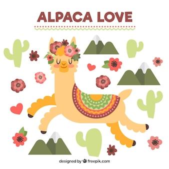 Fondo de linda alpaca en paisaje