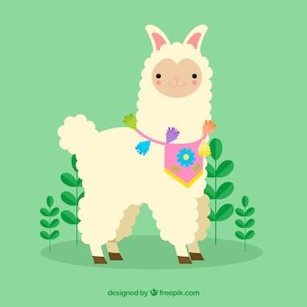 Fondo de linda alpaca con plantas