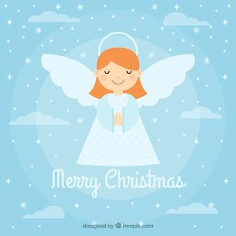 Fondo con un lindo ángel de navidad