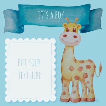 Fondo lindo bebé niño en acuarela con jirafa