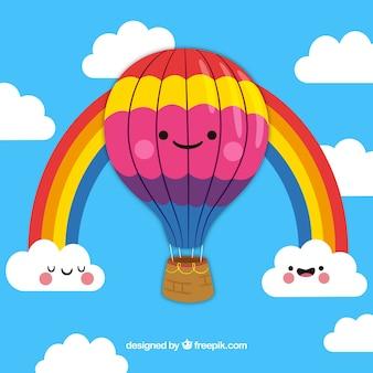 Fondo de lindo globo de aire caliente con cielo en estilo hecho a mano