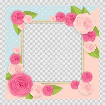 Fondo lindo con marco y conjunto de colección de flores