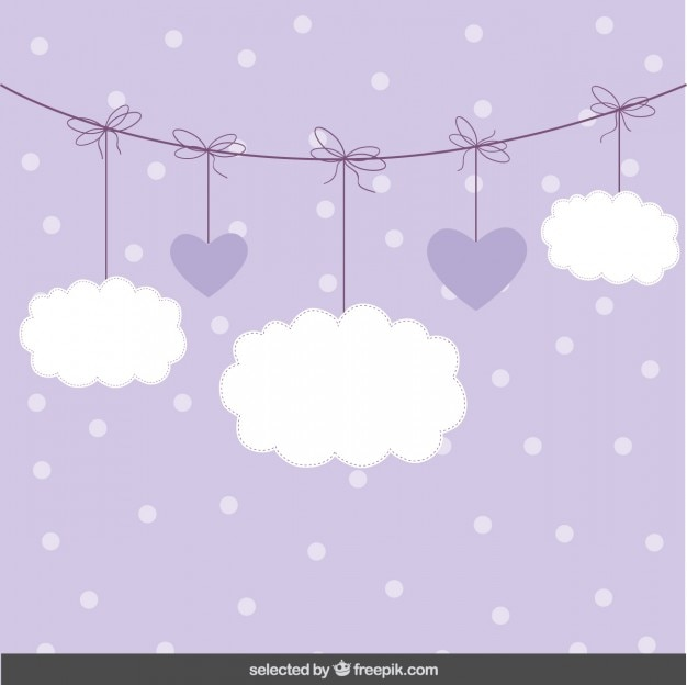 Fondo lindo con las nubes y corazones