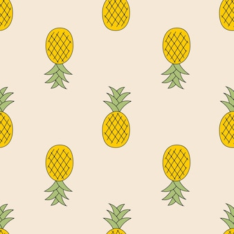 Fondo lindo patrón transparente de piña para textiles para niños. ilustración vectorial eps10