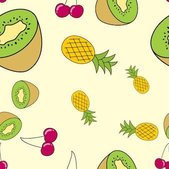 Fondo lindo de patrones sin fisuras de frutas naturalmente dibujadas. ilustración vectorial