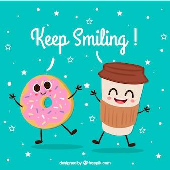 Fondo lindo con personajes de donut y bebida felices