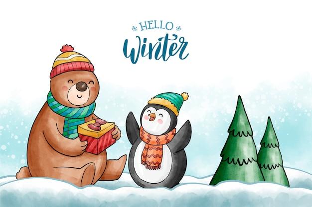 Fondo lindo de personajes de invierno