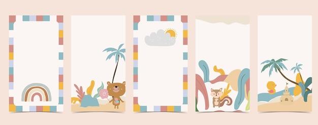 Fondo lindo para las redes sociales conjunto de historia con arco iris, oso, árbol