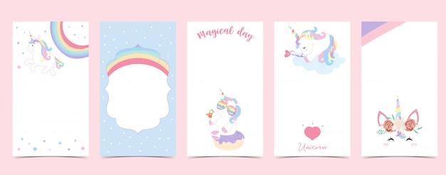 Fondo lindo para las redes sociales conjunto de historia de instagram con unicornio, estrella, arco iris, corazón