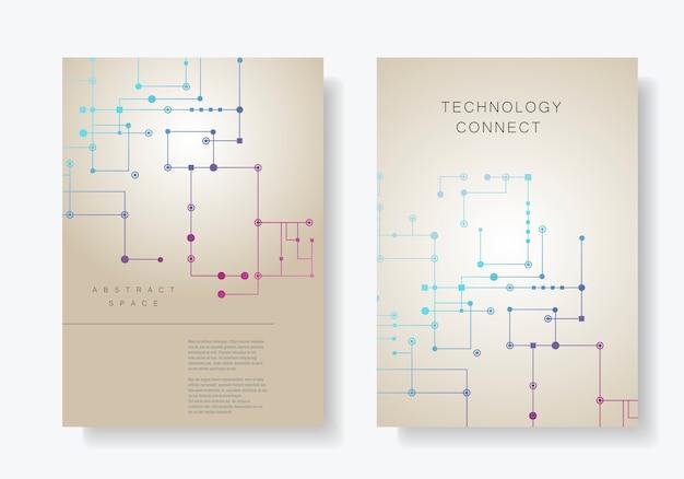 Fondo de línea de circuito, puntos y líneas conectados. abstracto