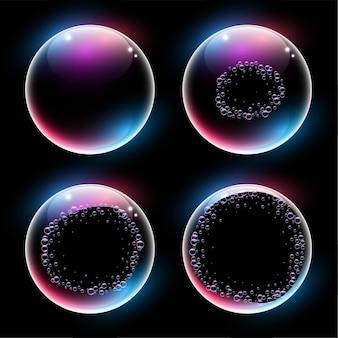 Fondo de línea de tiempo de explosión de burbujas de agua o jabón
