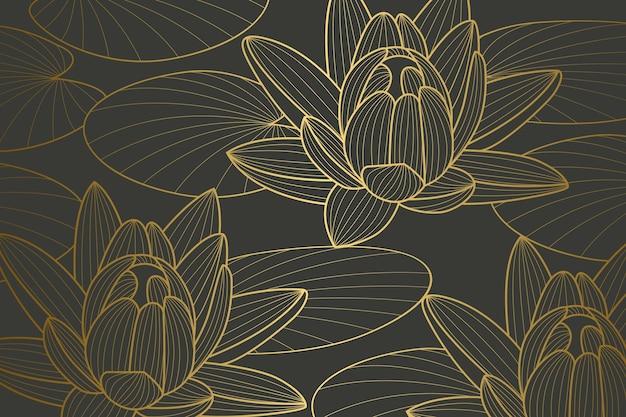 Fondo lineal dorado degradado con diseño de nenúfares