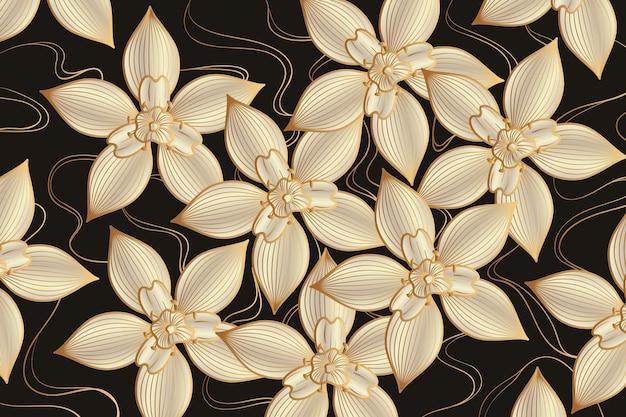 Fondo lineal dorado degradado con flores elegantes