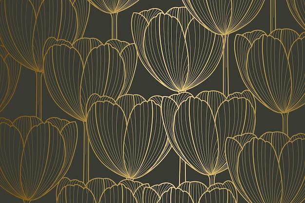 Fondo lineal dorado degradado con formas de tulipán