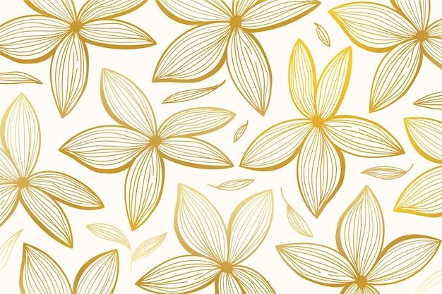 Fondo lineal dorado degradado con hermosas flores