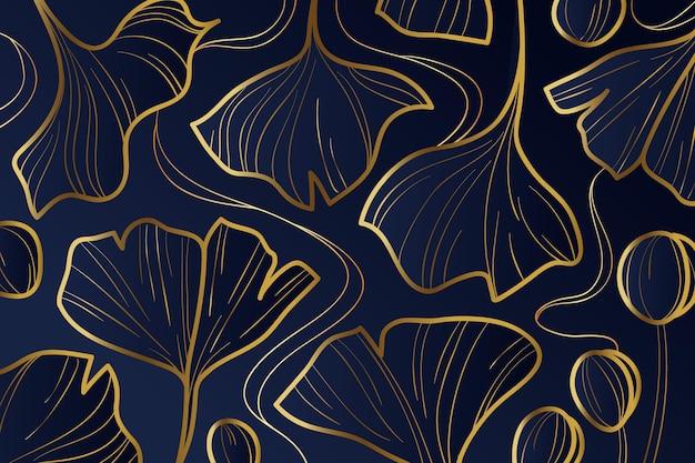 Fondo lineal dorado degradado con hojas de ginkgo biloba
